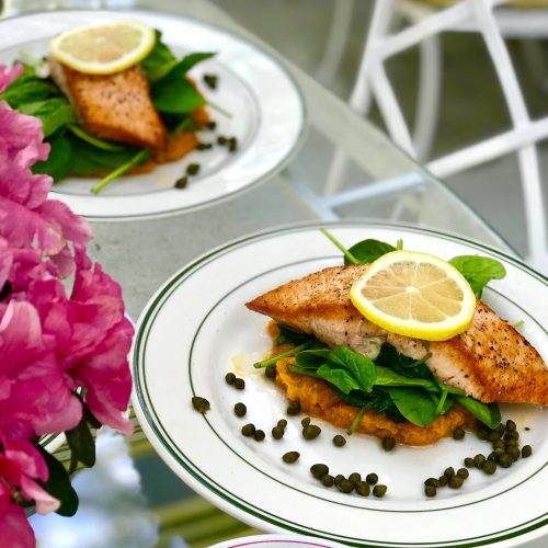 Salmon lunch in the garden -Private room with shared bath at Bay Oaks Assisted Living Miami